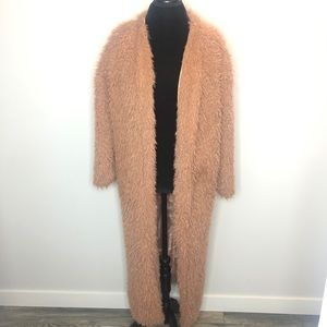 Boohoo Fuzzy Long Coat